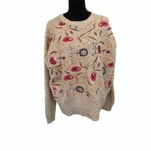 NWT Woven Heart Embroidered Sweater